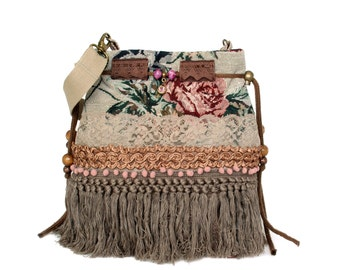 Big bucket bag vintage style fringed, made of rose fabric with ribbon and lace in beige, old pink - handmade bohemian purse OOAK woman gift