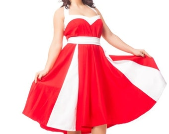 Rockabilly 1950s tea length red and white wedding/bridesmaid prom party dress, custom made corset dress, plus size corset dress