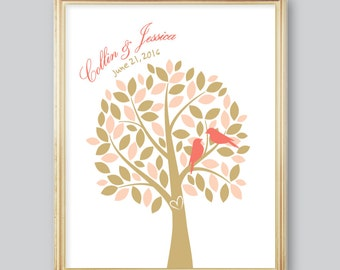Bridal Shower Gift Love Birds in a Tree Personalized Art Print, Couples, Wedding, Anniversary // 8x10  // Peach, Gold - Unframed