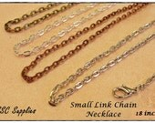 "40 Small Link Chain Necklace- 18"" - 2 x 3 Oval Link, Antique Brass Chain, Antique Copper Chain, Antique Silver, Jewelry Chain"