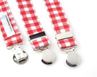 Red Gingham Adjustable Suspenders