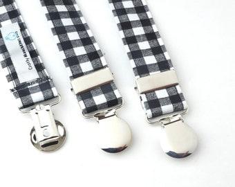 Black Gingham Adjustable Suspenders