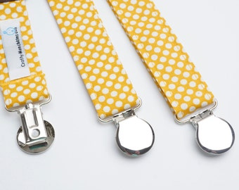 Suspenders - Yellow with White Polka Dots Adjustable Suspenders