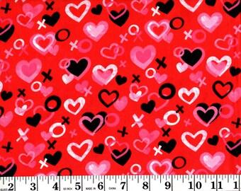 1 Yard, Hearts, X's and O's on Red David Textiles Fabrics