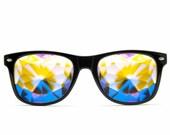 ON SALE Ultimate Kaleidoscope Glasses - Black Edge Cut Lenses Rainbow Spectrum Technology Lightweight Flat Back Party