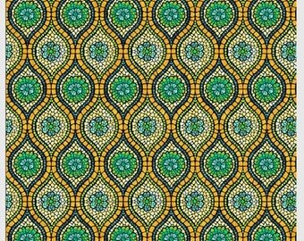 Art Glass by P&B textiles designed by Rose Ann Cook 817-Y frosted glass teal lime gold blue green 100% Cotton sewing quilting