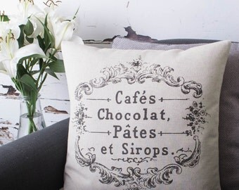 Vintage French Cafes Chocolat Cushion Pillow Cover