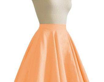JULIETTE Orange Rockabilly Swing Rock 'n Roll Skirt//Full Circle Black Skirt//Retro Mod 50s style Skirt//Party Skirt XXS-3X
