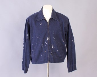 Vintage 60s Work JACKET / 1960s Men's Paint Splattered Workwear Navy Blue Zip Front Jacket L