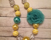 Yellow and Aqua Chiffon Flower chunky beaded necklace