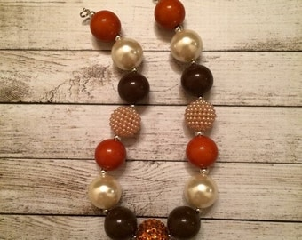 Orange Brown and Tan Fall necklace
