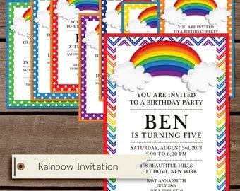 Rainbow Birthday Printable Invitation - Personalization - Custom - birthday printable