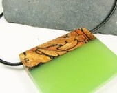 Large size wood resin fusion pendant. Opaque light green resin and spalted maple wood pendant. All natural UVpoxy.