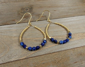 Cobalt Blue and Gold Beaded Hoop Earrings, Gold Dangle Earrings, Beaded Teardrop Hoop Earrings, Mother's Day Gift