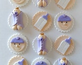 12 Fondant Edible Cupcake/Cookie Toppers - Baby Shower Girl or Boy, baby boy shower, baby girl shower, fondant baby, fondant baby bottle