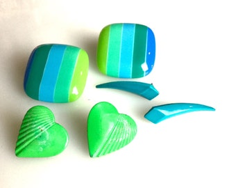 Bright cheery post earrings from the 1980s in blues and greens