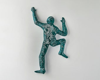 Climbing man sculpture, Contemporary metal wall art, wire mesh sculpture, wall hanging - Green