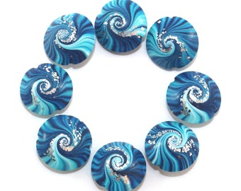 Polymer Clay focal beads, swirl lentil beads in blue, turquoise and white, unique pattern beads, elegant beads with silver dots, set of 8