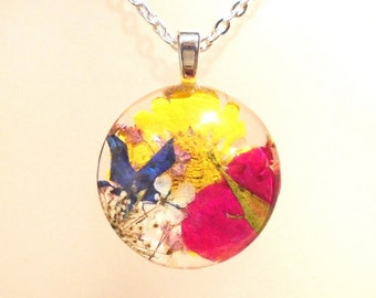 Real Pressed Flower Secret Garden Large Glass Round Pendant Necklace