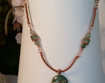 Adventurine and Viking weave copper necklace