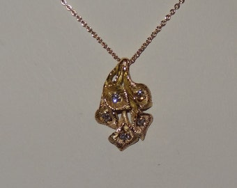 Solid 14k Yellow Gold and Diamond Cala Lily Pendant Necklace