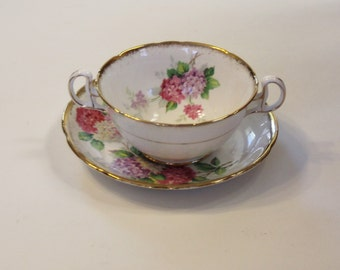 Royal Stafford Carousel Bone China 2 Handled Soup Bowl and Saucer