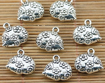 12pcs Tibetan silver beautiful flower fish charms EF1624