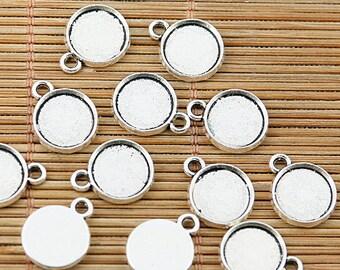 48pcs Tibetan silver round cabochon settings EF1859