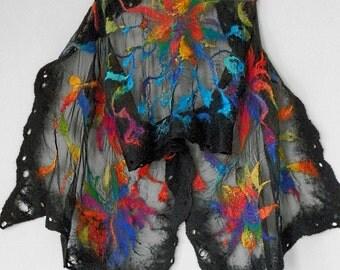 nuno felted silk scarf  RAINBOW FLOWER,handmade, floral scarf, wool silk scarf, multicolor scarf, art to wear, eco fashion by Kantorysinska