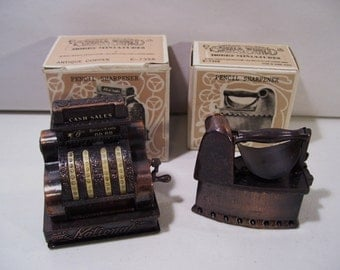 Vintage Lot of 2 Enesco Small World Miniature Pencil Sharpeners, 1976, Antique Iron & Cash Register, Hong Kong