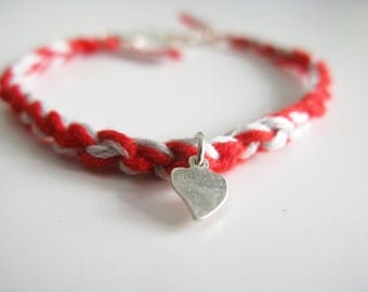 Red white braided bracelet with sterling silver heart, friendship bracelet with silver heart charm, martis braclet, boho bracelet