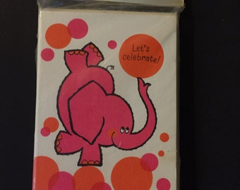 Unopened Set of 8 Vintage Pink Elephant Party Invitations Made by Hallmark!!
