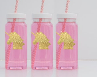 40 Gold Unicorn Milk Bottles, Glitter Gold Unicorn Labels, French Square Milk Bottles With Caps