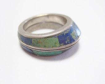 Rare!  Los Castillo Mosaica Azteca Ring