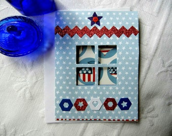 "Patriotic Greeting Card (HandmadeRed White and Blue) ""God Bless the U.S.A"" Window Design for Veteran, Service Member, USA Holiday"