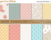 SALE Digital Paper - Blossom - Floral, Geometric Chinese Printable Patterns Instant Download for Scrapbooking, Decoupage, Crafts, Invitation