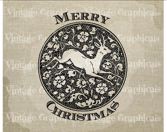 Merry Christmas Deer Flowers instant graphic Digital download image transfer for iron on fabric Burlap Decoupage Pillow Cards No. gt287