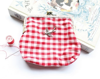 Purse Clasp Bag / Red Gingham Country Style
