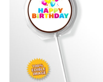 Happy Birthday Lollipop's (Pack of 12) from Chocolate Says It All