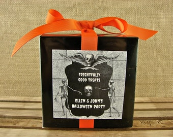 "Halloween Favor Boxes - 12 4x4"" Glossy Black Boxes With Ribbon and Personalized Chalkboard and Skeleton Labels"