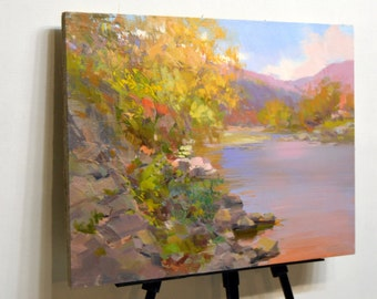 Home wall art, Landscape impressionist painting oil on canvas , Large trees painting, River artwork affordable