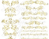 SALE GOLD 17 Decorative Frames Clipart - Digital Clip art for Scrapbooking, Printable, Photo card, Invitation 0586