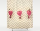 Shower Curtain - Gray Chevrons, Pink Bleeding Heart flowers  - Nature Photograpy by RDelean Designs