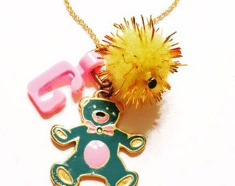 Personalized jewelry for little girl-teddy bear necklace-little girl necklace-jewelry for little girl-unique gift for little girls