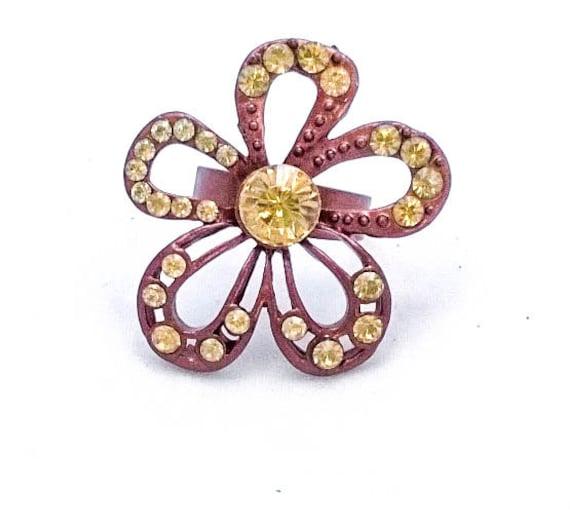 Vintage Bright Dark Copper Enamel Daisy Flower Green Rhinestone Ring with Adjustable Band