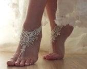 ivory gold  frame Beach, wedding barefoot sandals, Ivory Barefoot Sandals, Sexy, Anklet , Bellydance, Steampunk, Beach Pool