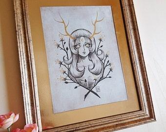 PRINT- The Golden Deer - Ink drawing - Special Edition FRAMED PRINT