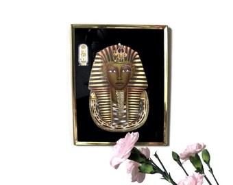 Vintage King Tut Picture Tutankhamen Egyptian Nlack Gold Framed Art Picture Wall Hanging Egypt