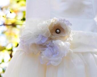 Wedding sash belt bridesmaids maternity sash fabric flower ivory cream white vintage lace shabby chic upcycled sash photo prop pearl sash