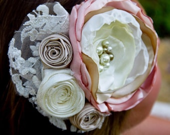 wedding flower girl hair piece clip ivory cream blush pink vintage lace photo prop bridesmaid pearl hair clip fabric bridal fascinator lace